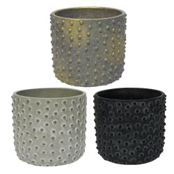 "5.3"" Decorative Stoneware Pots w/ Drain Hole and Liner"