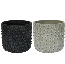 "7"" Decorative Stoneware Pots w/ Drain Holes and Liners"