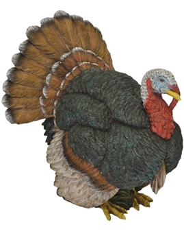 Large Multi Colored Resin Turkey Figurine