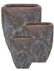 S/3 Milan Tapered Square Pots - Oceanic Bronze