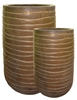 S/2 Tall Round Wave Pots - Matte Gold