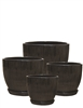 S/4 Round Ceramic Pots w/ Attached Saucers - Black