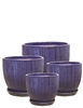 S/4 Round Ceramic Pots w/ Attached Saucers - Blue