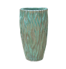 Single Tall Glazed Ornate Planter - Falling Green