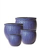 S/4 Large Round Modern Pots - Blue