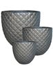 S/3 Round Diamond Design Planters - Matte Black