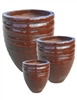 S/3 Tall Round Wave Jars - Sienna Brown