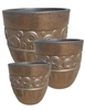 S/3 Round Deco Ring Pots - Metal Gold