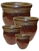 S/4 Round Fusion Glazed Pots - Antique Copper Red