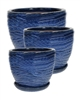 S/3 Round Pots w/ Attached Saucers - Blue