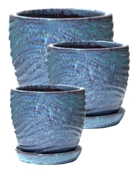 S/3 Round Pots w/ Attached Saucers - Turquoise