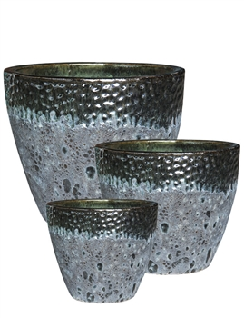 S/3 Round Two-Tone Pots - Forest Green Over Atlantic Black