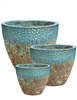 S/3 Round Two-Tone Pots - Turquoise Over Atlantic Green Mist