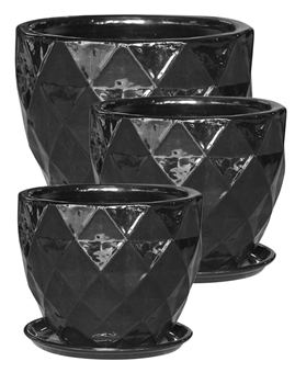 S/3 Round Pots w/ Attached Saucers - Black