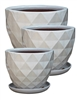 S/3 Round Pots w/ Attached Saucers - White