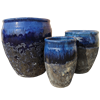 S/3 Round Two-Tone Pots - Blue Over Atlantic Blue