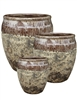 S/3 Round Two-Tone Pots - Brown Over Atlantic Brown