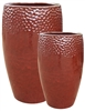 S/2 Tall Glazed Drum Pots - Love Red