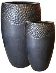 S/2 Tall Glazed Drum Pots - Matte Black
