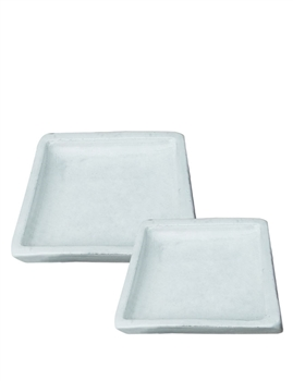 Glazed Square Saucer - White