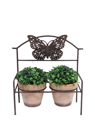 Metal Art Bench w/ Butterfly, 2 Pots
