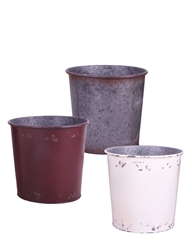 Round Metal Pots w/ Liner, 3 Assorted Colors