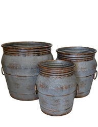 S/3 Large Decorative Metal Jars w/ Liners