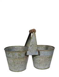 Verdigris Tin Double Planter w/ Handle (Click for Sizes & Pricing)