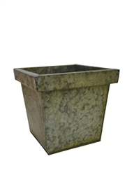 Square Verdigris Tin Pot Cover w/ Liner