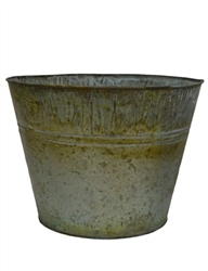 Large Round Metal Verdigris Bucket