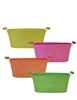 Bright Metal Oval Pots w/ Liners, 4 Assorted Colors