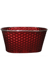 Red Decorative Metal Oval Pot