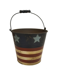 Round Metal Painted Americana Pot w/ Handle & Liner (Click for Sizes and Pricing)