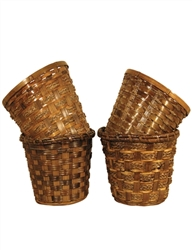 "7.75"" Bamboo Stain Pot Cover in 4 Assorted Styles (holds 6.5"" pot)"