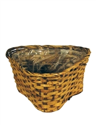 "Triple 6"" Rattan Brown Triangular Basket w/ Liner"