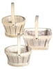 "7""-9"" Assorted Shaped Slatwood Whitewash Baskets w/ Handles & Liners"