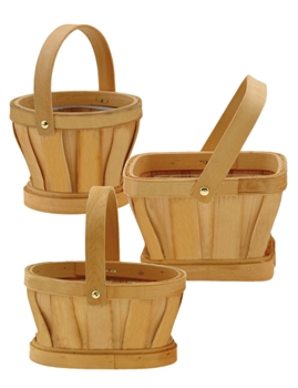 "7""-9"" Assorted Shaped Slatwood Natural Baskets w/ Handles & Liners"