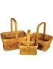 S/3 Rectangle Woodchip Baskets w/Handles & Liners - Natural