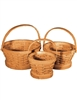 S/3 Round Woodchip Baskets w/Handles & Liners - Natural