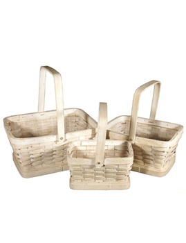 S/3 Rectangle Whitewash Woodchip Baskets w/Handles & Liners
