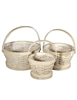 S/3 Round Whitewash Woodchip Baskets w/ Handles & Liners
