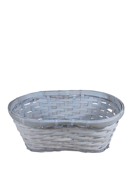 "Double 6"" Whitewash Peanut Basket w/ Liner"