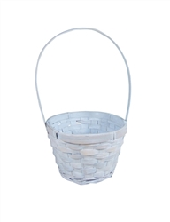 "5"" Round Whitewash Bamboo Basket w/ Tall Handle"