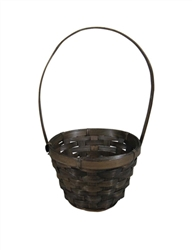 "5"" Round Stain Bamboo Basket w/ Tall Handle"