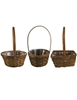 "6"" - 7"" Assorted Shaped Stain Baskets w/ Handles & Liners"