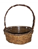 "<!020>8"" Single Round Twiggy Vine Basket w/ Handle and Liner"