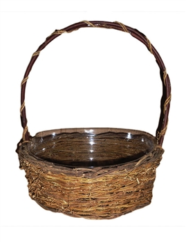 Single Round Twiggy Vine Basket w/ Handle & Liner (Click for Sizes and Pricing