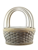 S/4 Whitewash Round Willow Baskets w/ Handles & Liners