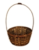 "<!010>5"" Round Stain Bamboo Basket w/ Tall Handle"