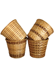 "<!010>5"" Bamboo Pot Cover in 4 Assorted Styles (holds a 4.5"" pot)"